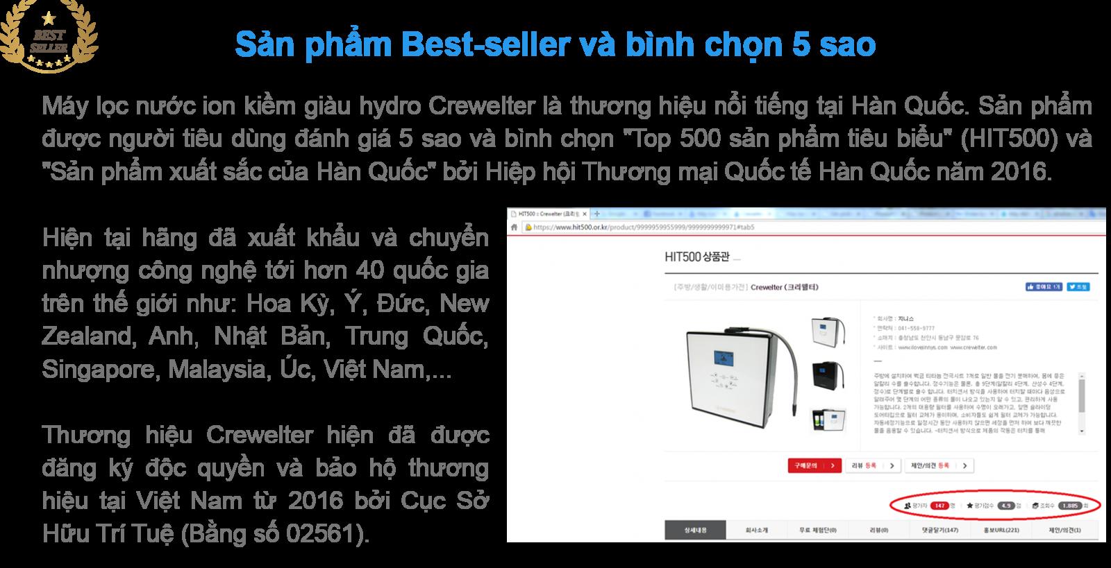 Máy lọc nước ion kiềm giàu hydro Crewelter 9 là sản phẩm best-seller